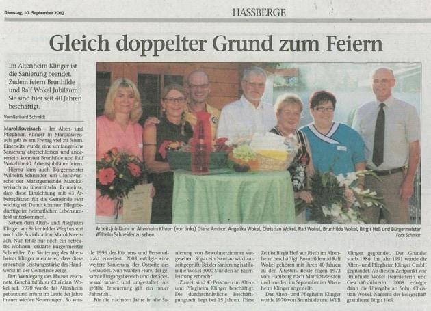 Pressemitteilung Jubiläum Brunhilde und Ralf Wokel